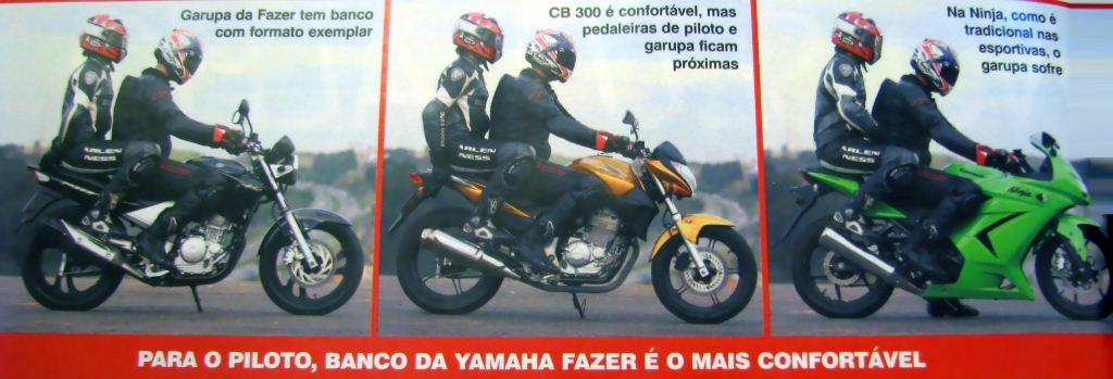 Para o piloto, banco da Yamaha Fazer é o mais confortável